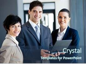 Cool new PPT theme with team leader co - group of businessman and businesswoman backdrop and a ocean colored foreground