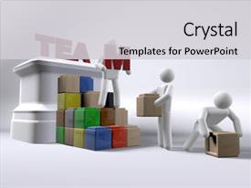 Cool new PPT theme with team of 3d figures building backdrop and a light gray colored foreground.