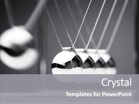 PPT layouts enhanced with teamwork - newton's cradle physics concept background and a gray colored foreground