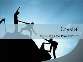 Theme enhanced with teamwork - climbing helping team work success background and a light blue colored foreground.