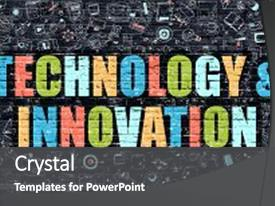 PPT theme consisting of technology and innovation concept technology background and a dark gray colored foreground.