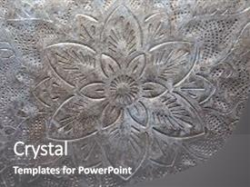 PPT layouts having thai flower silver art texture background and a gray colored foreground.