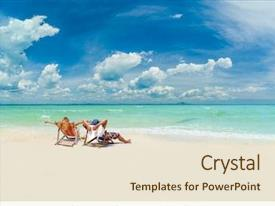 Cool new PPT theme with the beach at tropical backdrop and a lemonade colored foreground