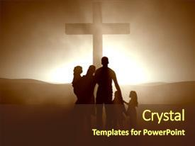 Powerpoint template depiction of crucifixion with jesus christ amazing presentation theme having the cross of jesus backdrop and a tawny brown colored foreground toneelgroepblik Choice Image