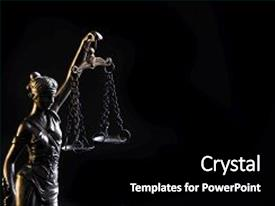 Amazing slide deck having law - goddess of justice backdrop and a black colored foreground.
