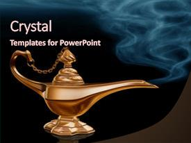 PPT theme featuring the golden magic lamp background and a wine colored foreground.