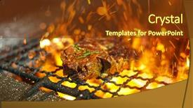 PPT layouts featuring the grill with flame background and a tawny brown colored foreground.