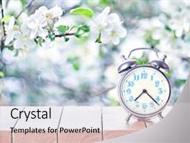 Cool new slide deck with clock - spring season background backdrop and a light gray colored foreground.