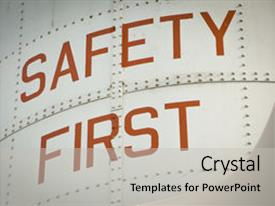 PPT layouts having the words safety first background and a light gray colored foreground.