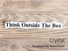 PPT theme having think outside the box text on paper word think outside the box on torn paper concept image background and a mint green colored foreground.