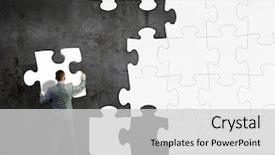 Beautiful PPT layouts featuring thinking man - image of businessman compiling macro backdrop and a light gray colored foreground