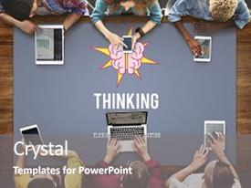 Colorful presentation theme enhanced with thinking visionary mind thoughtful concept backdrop and a gray colored foreground