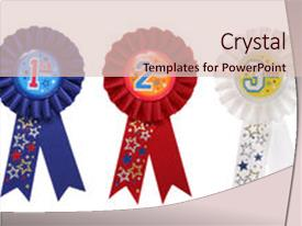 Cool new PPT theme with third place award ribbon backdrop and a  colored foreground.