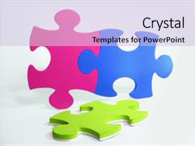 PPT theme consisting of three colorful puzzle pieces magenta background and a light blue colored foreground.