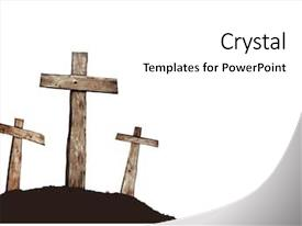 PPT theme enhanced with three crosses on a hill background and a white colored foreground