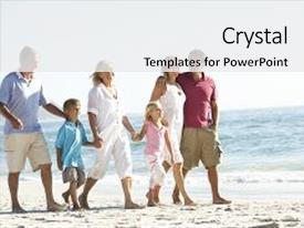 Amazing PPT layouts having three generation family on holiday backdrop and a  colored foreground.