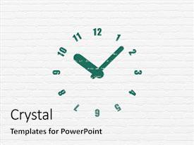 Cool new PPT theme with time concept painted green clock icon on white brick wall background backdrop and a white colored foreground