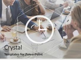Beautiful presentation theme featuring time management duration interval graphic backdrop and a light gray colored foreground