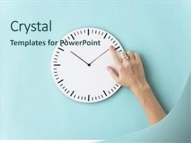 Presentation design featuring time punctual second minute hour background and a sky blue colored foreground