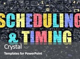 Slide set featuring time - scheduling and timing concept scheduling background and a dark gray colored foreground.