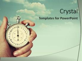 PPT theme consisting of time start with old chronometer background and a mint green colored foreground