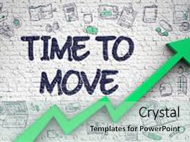 PPT layouts enhanced with time to move inscription on the line style illustation with green arrow and doodle design icons around time to move - business concept inscription on the brick wall with doodle icons background and a mint green colored foreground.