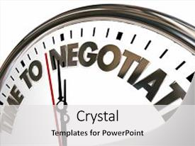 Presentation theme consisting of negotiation - time to negotiate reach agreement background and a white colored foreground.