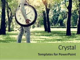 PPT theme having timing clock schedule punctual time background and a mint green colored foreground