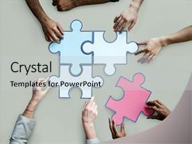 Beautiful slide set featuring togetherness connection teamwork jigsaw game backdrop and a light gray colored foreground