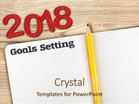 presentation theme having top view of 2018 new year red number and goals setting with blank