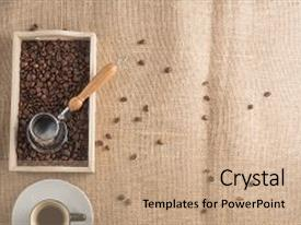 Amazing theme having java - top view of coffee box backdrop and a coral colored foreground
