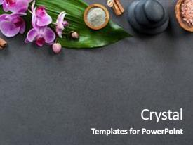 PPT layouts enhanced with top view of spa setting with hot stones and pink salt high angle view of orchids with green leaf on blackboard with stacked hot stone for massage treatment luxury and elegant spa set with copy space background and a dark gray colored foreground.
