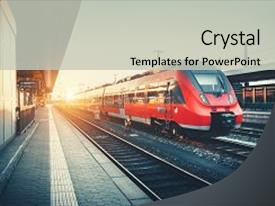 5000 train powerpoint templates w train themed backgrounds colorful slide deck enhanced with train at railway platform industrial backdrop and a light gray colored toneelgroepblik Choice Image
