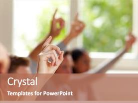 Cool new PPT layouts with training - many raised fingers in class backdrop and a coral colored foreground