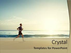 Presentation featuring training aspire - man running on tropical beach background and a coral colored foreground.