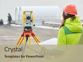 PPT theme consisting of transit equipment at road construction background and a  colored foreground.