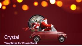 Cool new PPT theme with transportation - christmas countdown arriving santa claus backdrop and a tawny brown colored foreground