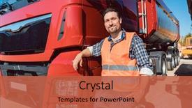 Audience pleasing PPT theme consisting of transportation - truck driver in front backdrop and a red colored foreground