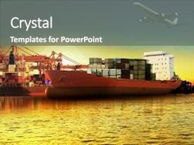 Beautiful slides featuring transportation - container ship in importexport port backdrop and a gray colored foreground.