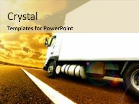 Presentation design having transportation - truck and transport lorry delivering background and a blonde colored foreground.