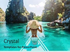PPT theme having travel - back view of the young background and a cyan colored foreground