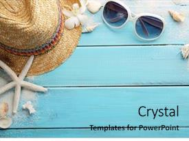 PPT theme with travel - beach accessories on wooden board background and a light blue colored foreground