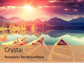 Beautiful presentation theme featuring travel - majestic mountain lake in national backdrop and a coral colored foreground