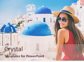 PPT theme enhanced with travel europe summer holiday girl background and a lemonade colored foreground