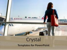 Amazing PPT layouts having travel tourist standing with luggage backdrop and a coral colored foreground