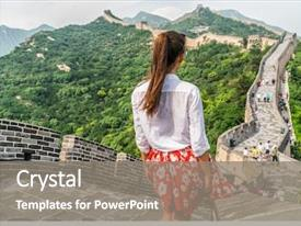 Theme featuring travel vacation in beijing asia background and a gray colored foreground