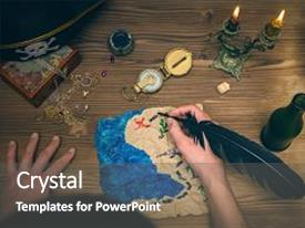 Pirate treasure powerpoint templates crystalgraphics beautiful presentation theme featuring treasure map compassmale hands and pirate hat on wooden table treasure hunt toneelgroepblik Images