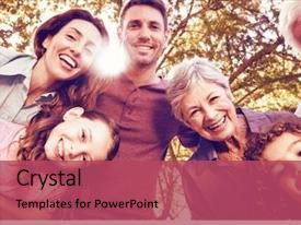 Cool new presentation theme with tree - portrait of happy family smiling backdrop and a red colored foreground