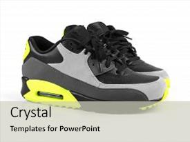 Cool new presentation with trendy sport shoes isolated on white background backdrop and a light gray colored foreground