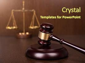PPT theme featuring tribunal system - wooden gavel with scales on background and a tawny brown colored foreground.